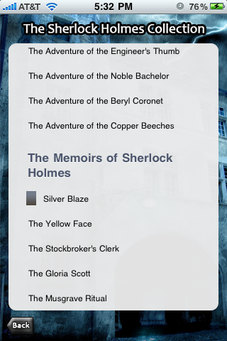 The Sherlock Holmes Collection for iPhone and iPod Touch